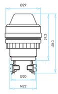 Арматура сигнальная 22 мм белая с конической линзой S220B