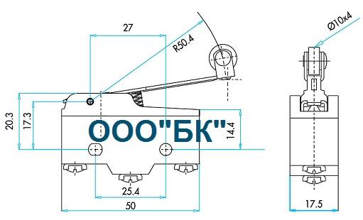 Габаритные размеры выключателя MN1MIM2