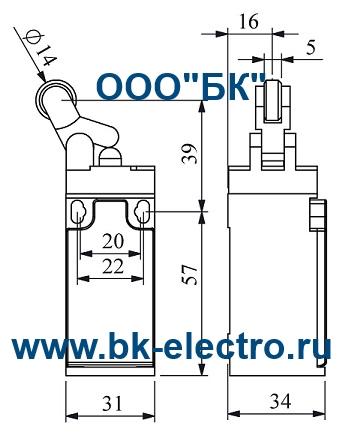 Габаритные размеры концевого выключателя L3K13MIM41