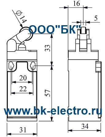 Габаритные размеры концевого выключателя L3K13MIP31