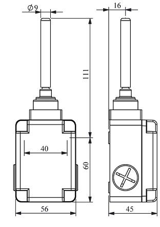 Габаритные размеры выключателя L1K13ROP10