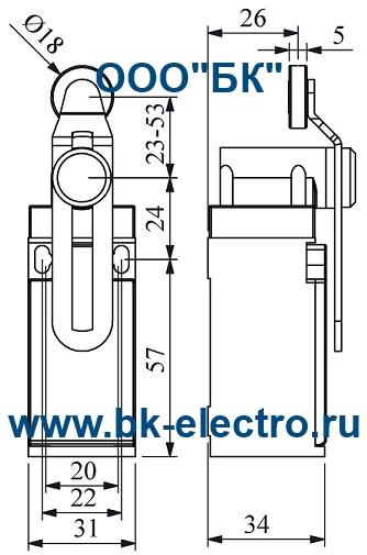 Габаритные размеры концевого выключателя L3K13MEP124