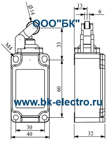 Габаритные размеры выключателя L52K13MIP311