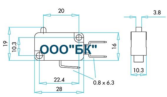 Габаритные размеры выключателя MK1PUP1Y