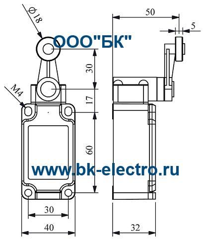 Габаритные размеры выключателя L52K13MEP121