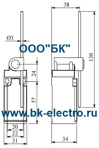 Габаритные размеры концевого выключателя L3K13REM121