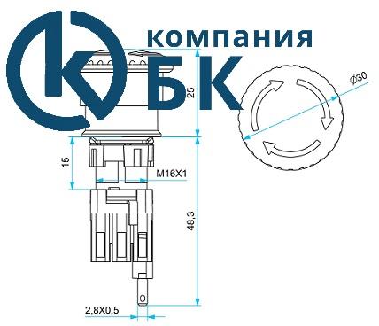 """Габаритные размеры кнопки """"Грибок"""" 16мм. серии """"D"""""""