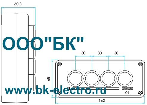 Габаритные размеры поста управления P43A1C-S30