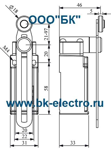 Габаритные размеры выключателя L51K13MEP123