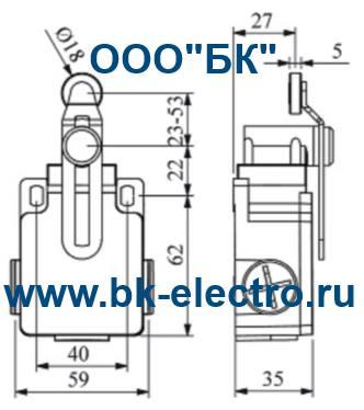 Габаритные размеры концевого выключателя L2K13MEP124
