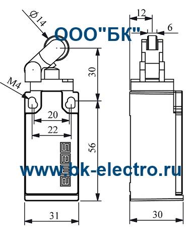 Габаритные размеры концевого выключателя L5K13MIP311
