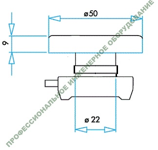 Габаритные размеры толкателя сдвоенной кнопки 22 мм. EMAS серии (CP) IP65.