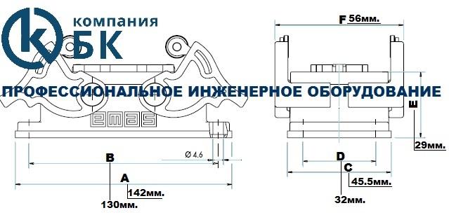 Габаритные размеры промышленных разъемов EMAS серии EBM (EBM24PM и FM44)