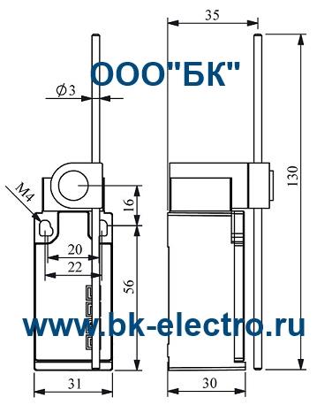 Габаритные размеры концевого выключателя L5K13REM121