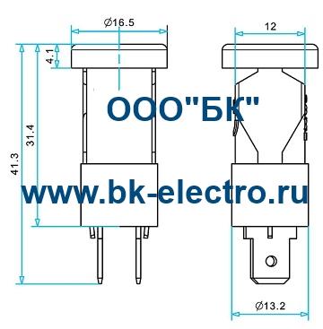 Габаритные размеры сигнальной арматуры 14 мм, S145Y