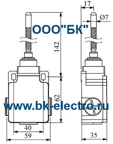 Габаритные размеры концевого выключателя L2K13SOM11
