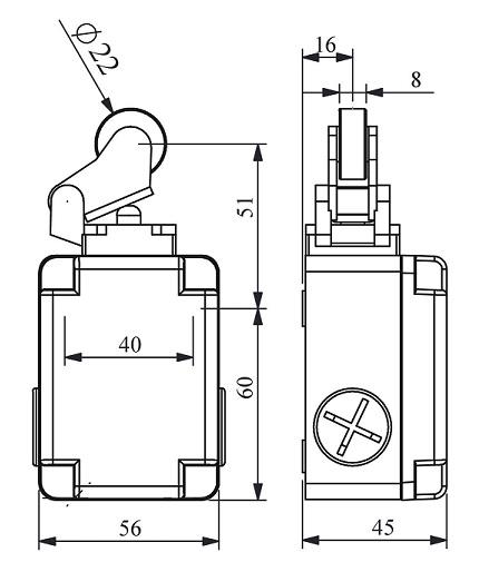 Габаритные размеры выключателя L1K13MIP21