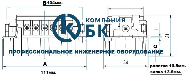 Габаритные размеры внутренних частей промышленных разъемов EMAS серии EBM на 24 вывода