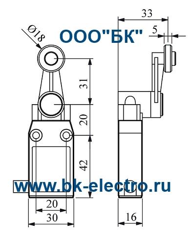 Габаритные размеры концевого выключателя L66K13MEM121
