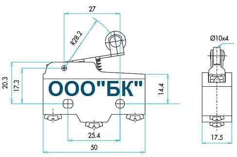 Габаритные размеры выключателя MN1MIM1