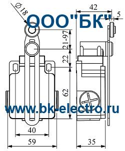 Габаритные размеры концевого выключателя L2K13MEP123