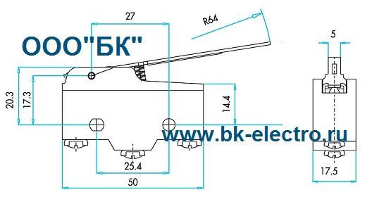 Габаритные размеры выключателя MN1KIM2