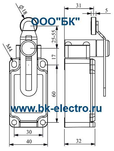 Габаритные размеры выключателя L52K13MEP124
