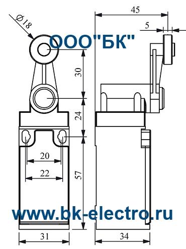 Габаритные размеры концевого выключателя L3K13MEP12