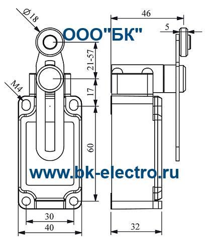 Габаритные размеры выключателя L52K13MEP122