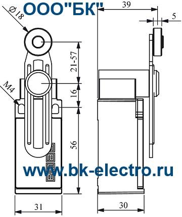 Габаритные размеры выключателя L5K13MEM122