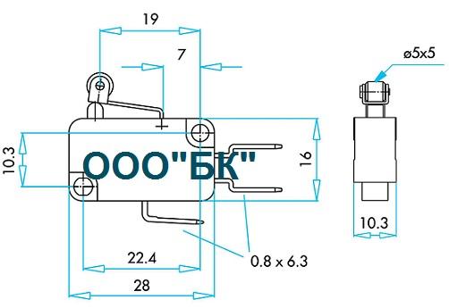 Габаритные размеры выключателя MK1MIM1