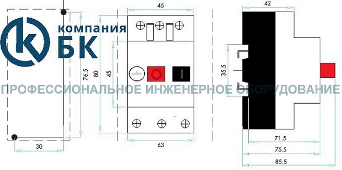 Габариты автоматов защиты серии MKS