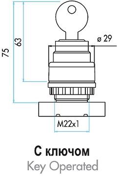 Габаритные размеры толкателя кнопки с ключом серии (В).
