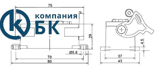 Габаритные размеры промышленных разъемов EMAS (EBM06PM и FM42)