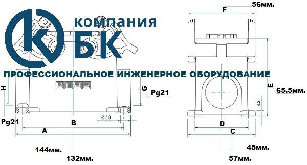 Габаритные размеры корпуса для промышленных разъемов EMAS серии EBM (EBM24FD/FM - PD/PM 14 и 24)