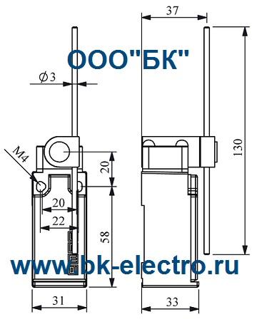 Габаритные размеры выключателя L51K13REM121