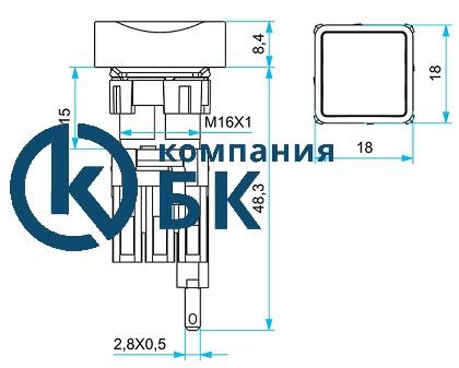 """Габаритные размеры квадратных нажимных кнопок EMAS серии """"D""""."""