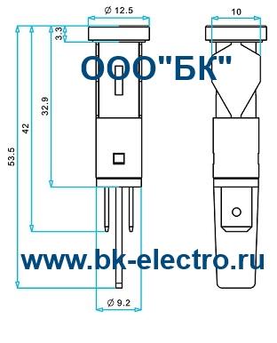 Габаритные размеры сигнальной арматуры 10 мм, S105K