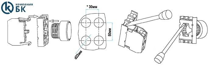 Пример установки и сбора составных частей кнопки серии (B)