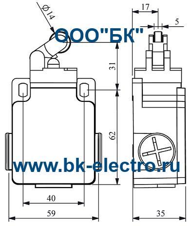 Габаритные размеры концевого выключателя L2K13MIP31