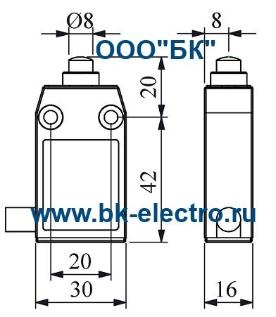 Габаритные размеры концевого выключателя L61K13PUM211