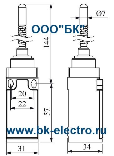 Габаритные размеры концевого выключателя L3K13SOP11