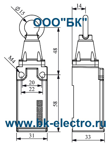 Габаритные размеры выключателя L51K23HUM111