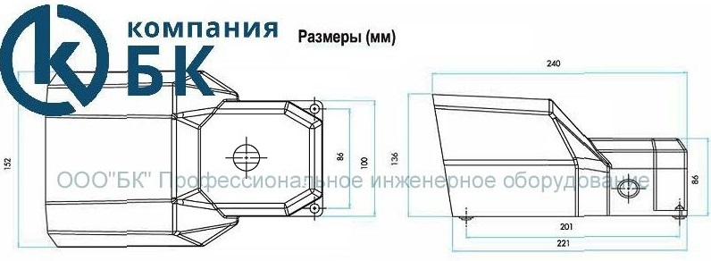 Габаритные размеры педали EMAS серии PDKA с отверстием для подключения доп. аксессуаров