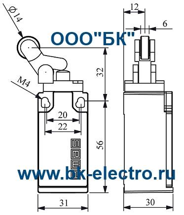 Габаритные размеры концевого выключателя L5K13MIP411