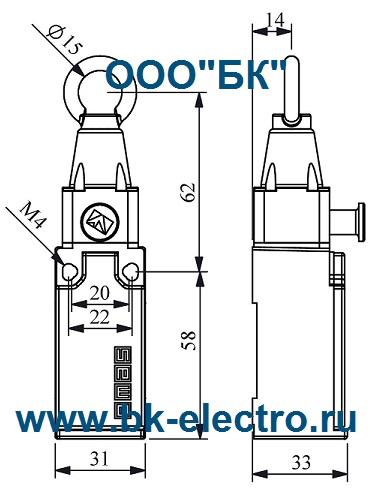 Габаритные размеры выключателя L51K23HUM112