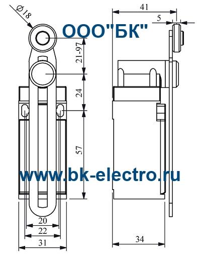 Габаритные размеры концевого выключателя L3K13MEP123
