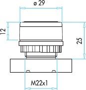 Габаритные размеры толкателя кнопки серии (B)