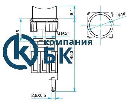 """Габаритные размеры кнопок нажимных, круглых серии """"D"""" 16мм. IP20"""