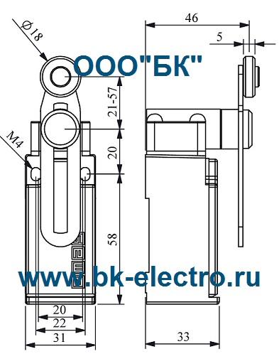Габаритные размеры выключателя L51K13MEP122